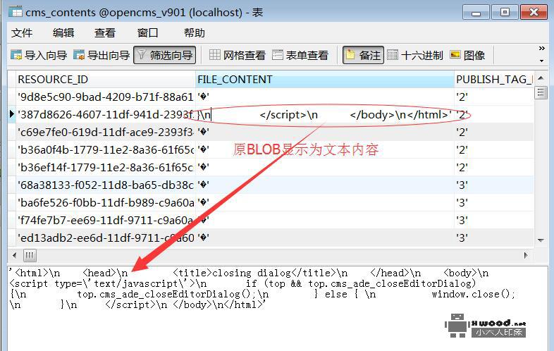 通过Navicat显示mysql数据库二进制大字段(BLOB)文本内容- 小木人印象
